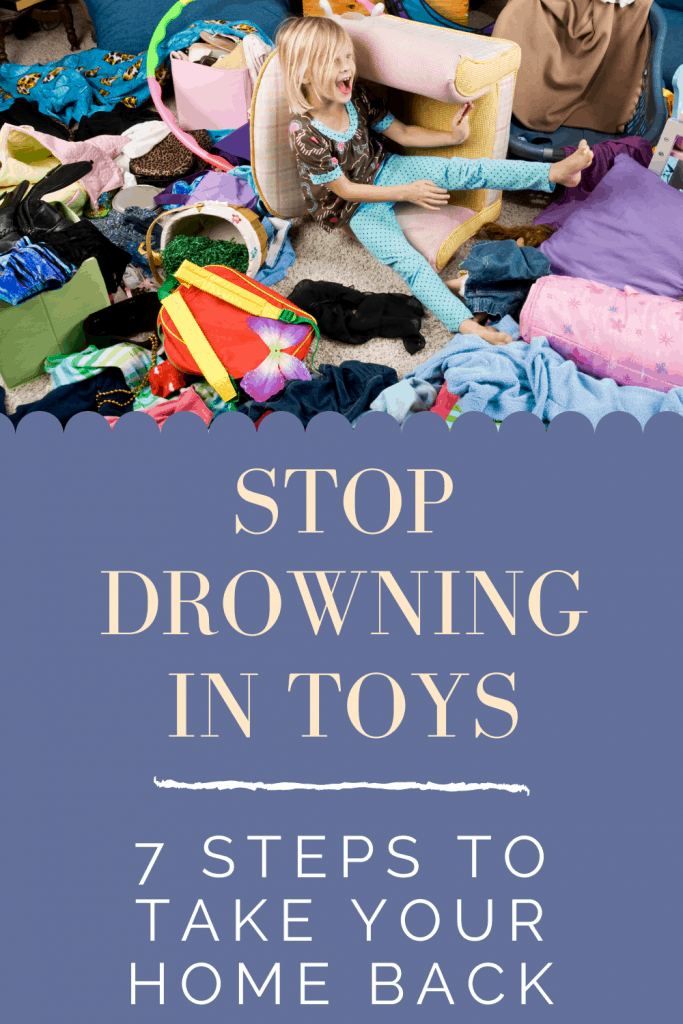Are you drowning in toys? Do you spend hours picking up after your kids? Here are 7 Easy Steps to declutter your toys today! #declutter