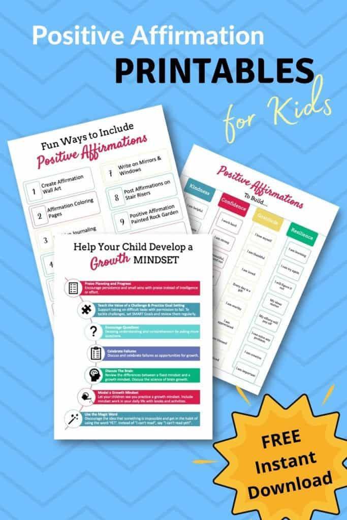 Positive affirmation printables for kids.